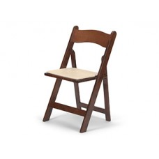 Wood Folding Chair with Ivory Pad